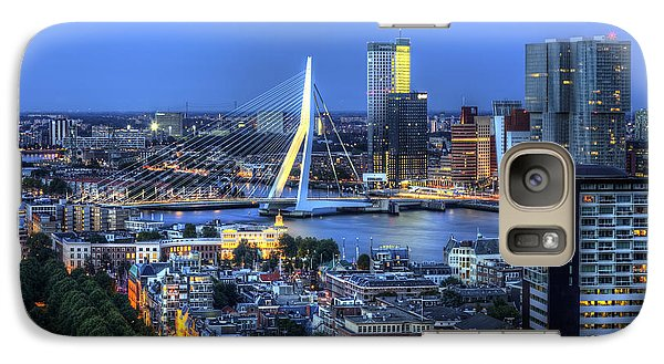 Galaxy Case featuring the photograph Rotterdam Skyline With Erasmus Bridge by Shawn Everhart