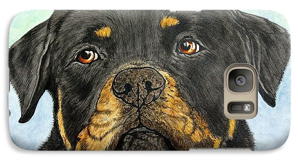 Rottweiler's Sweet Face 2 Galaxy Case by Megan Cohen