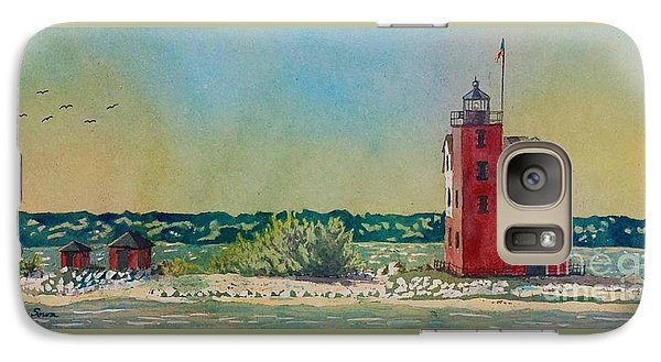 Galaxy Case featuring the painting Round Island Lighthouse by LeAnne Sowa