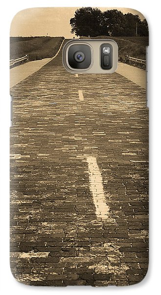 Galaxy Case featuring the photograph Route 66 - Brick Highway 2 Sepia by Frank Romeo