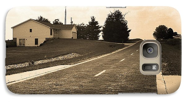 Galaxy Case featuring the photograph Route 66 - Brick Highway Sepia by Frank Romeo