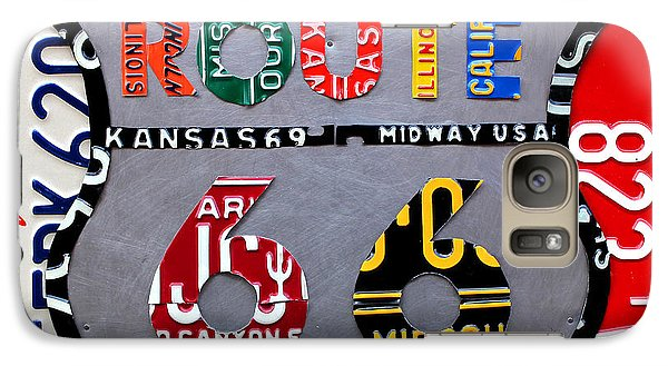 University Of Arizona Galaxy S7 Case - Route 66 Highway Road Sign License Plate Art by Design Turnpike