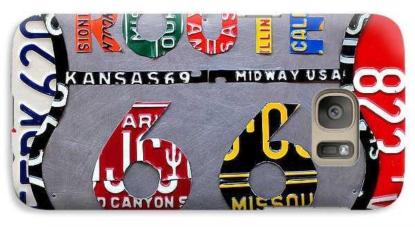 Route 66 Highway Road Sign License Plate Art Galaxy S7 Case by Design Turnpike