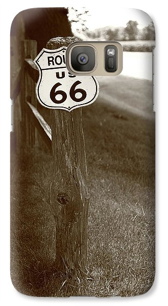 Galaxy Case featuring the photograph Route 66 Shield And Fence Sepia Post by Frank Romeo
