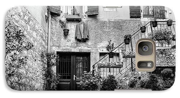 Rovinj Old Town Courtyard In Black And White, Rovinj Croatia Galaxy S7 Case