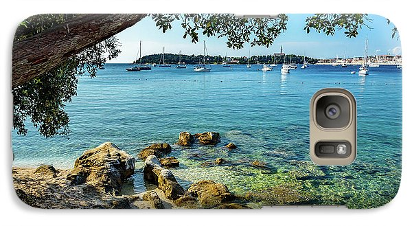 Rovinj Old Town, Harbor And Sailboats Accross The Adriatic Through The Trees Galaxy S7 Case