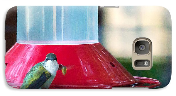 Galaxy Case featuring the photograph Ruby-throated Hummingbird At Feeder by Edward Peterson
