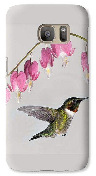 Galaxy Case featuring the photograph Ruby-throated Hummingbird With Bleeding Hearts by Lara Ellis