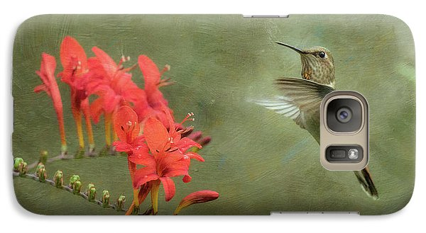 Galaxy Case featuring the photograph Rufous Hummingbird And Crocosmia by Angie Vogel