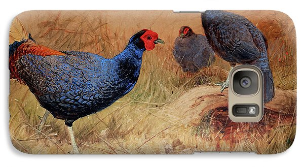 Rufous Tailed Crested Pheasant Galaxy S7 Case by Joseph Wolf