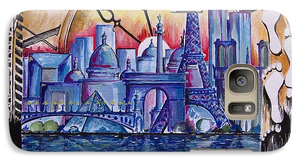 Galaxy Case featuring the painting Rush Hour In Paris by Geni Gorani