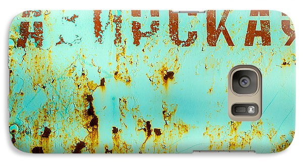Galaxy Case featuring the photograph Rust On Metal Russian Letters by John Williams