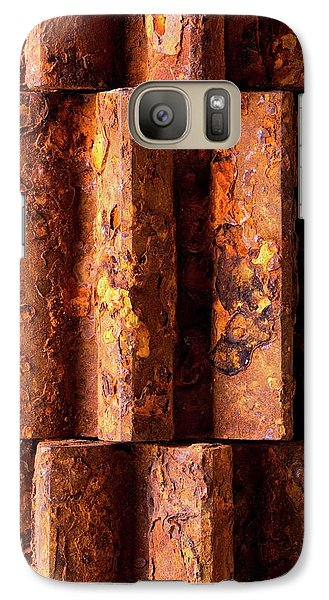 Galaxy Case featuring the photograph Rusted Gears 2 by Jim Hughes