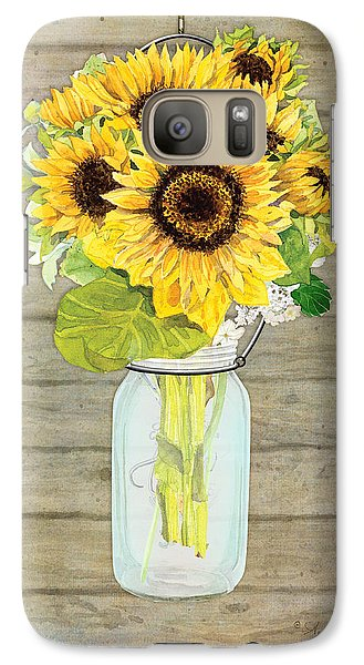 Sunflower Galaxy S7 Case - Rustic Country Sunflowers In Mason Jar by Audrey Jeanne Roberts