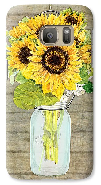Rustic Country Sunflowers In Mason Jar Galaxy Case by Audrey Jeanne Roberts