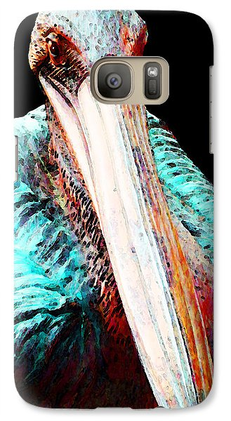 Rusty - Pelican Art Painting By Sharon Cummings Galaxy Case by Sharon Cummings