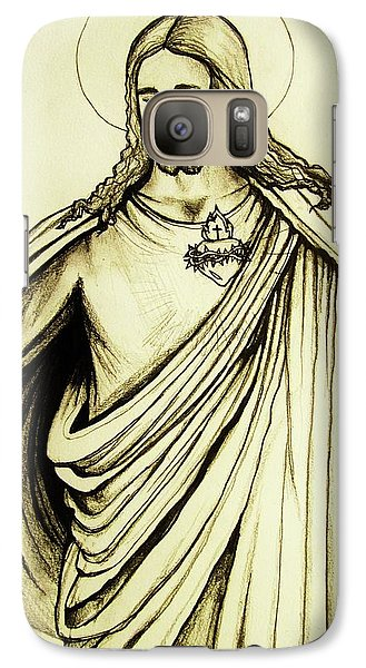 Galaxy Case featuring the drawing Sacred Heart by Mary Ellen Frazee
