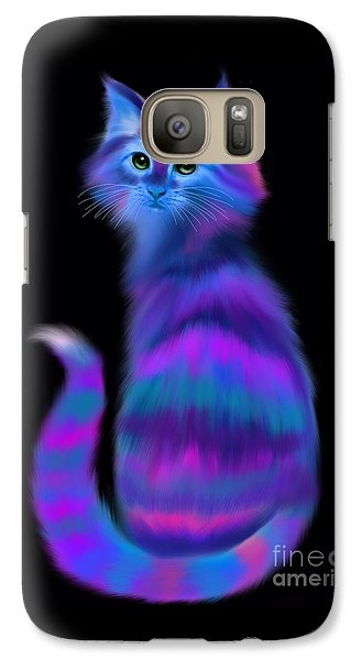 Galaxy Case featuring the painting Sad Eyed Colorful Cat by Nick Gustafson
