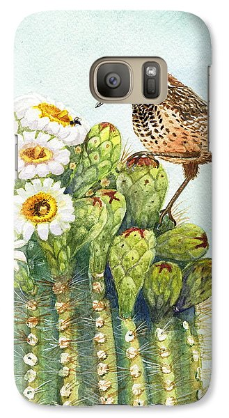 Galaxy Case featuring the painting Saguaro And Cactus Wren by Marilyn Smith