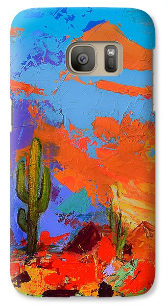 Galaxy Case featuring the painting Saguaros Land Sunset By Elise Palmigiani - Square Version by Elise Palmigiani