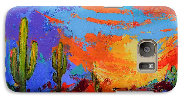 Galaxy Case featuring the painting Saguaros Land Sunset by Elise Palmigiani