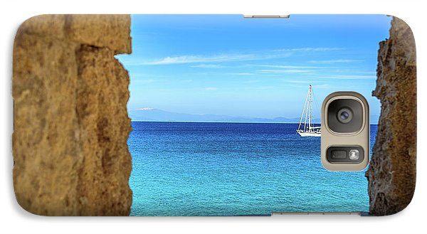 Sailboat Through The Old Stone Walls Of Rhodes, Greece Galaxy S7 Case