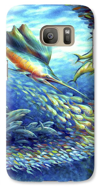 Galaxy Case featuring the painting Sailfish Plunders Baitball II - Sharks And Dolphin Fish by Nancy Tilles