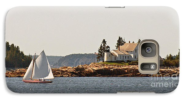 Galaxy Case featuring the photograph sailing by Mark Island lighthouse by Christopher Mace