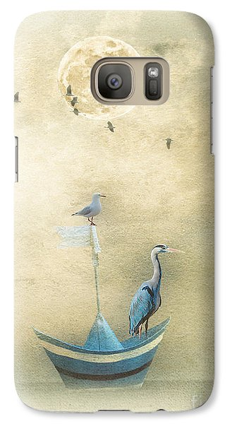 Galaxy Case featuring the painting Sailing By The Moon by Chris Armytage