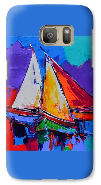 Galaxy Case featuring the painting Sails Colors by Elise Palmigiani