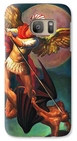 Galaxy Case featuring the painting Saint Michael The Warrior Archangel by Svitozar Nenyuk