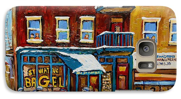 Galaxy Case featuring the painting Saint Viateur Bagel With Hockey by Carole Spandau
