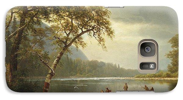 Salmon Galaxy S7 Case - Salmon Fishing On The Caspapediac River by Albert Bierstadt