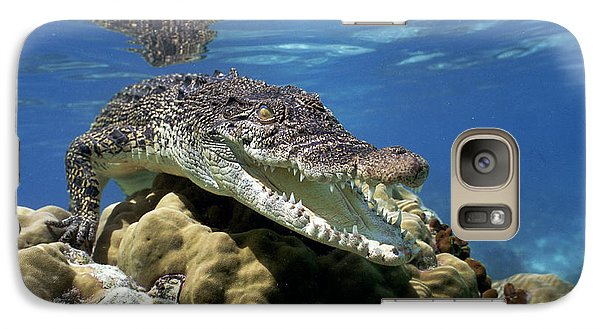 Saltwater Crocodile Smile Galaxy Case by Mike Parry