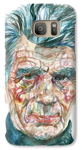 Galaxy Case featuring the painting Samuel Beckett Watercolor Portrait.10 by Fabrizio Cassetta