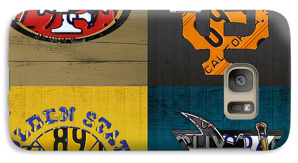 San Francisco Sports Fan Recycled Vintage California License Plate Art 49ers Giants Warriors Sharks Galaxy S7 Case