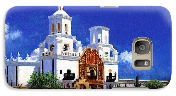 Galaxy Case featuring the painting San Xavier Del Bac Mission by M Diane Bonaparte