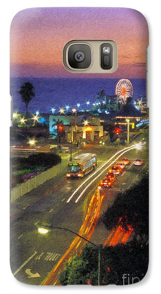 Galaxy Case featuring the photograph Santa Monica Ca Pacific Park Pier  Sunset by David Zanzinger