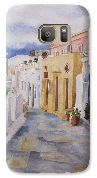 Galaxy Case featuring the painting Santorini Cloudy Day by Teresa Beyer