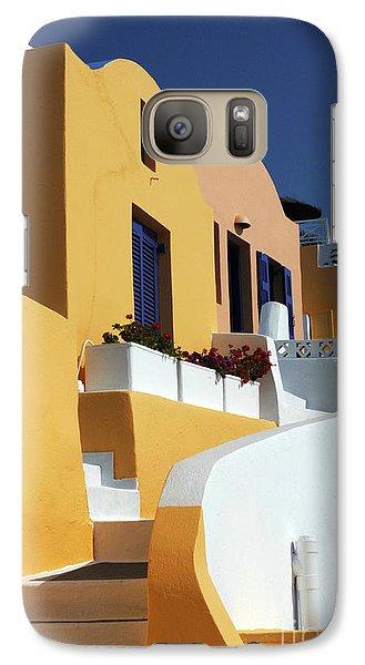 Galaxy Case featuring the photograph Santorini Greece Architectual Line by Bob Christopher