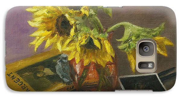 Galaxy Case featuring the painting Sargent And Sunflowers by Lisa  Spencer