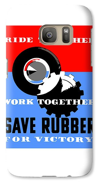 Galaxy Case featuring the mixed media Save Rubber For Victory - Wpa by War Is Hell Store
