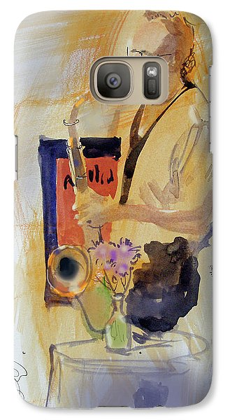 Galaxy Case featuring the painting Sax Man by Gertrude Palmer