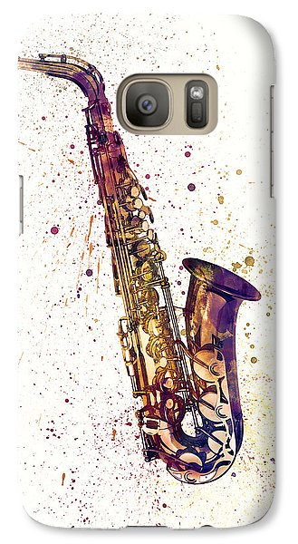 Saxophone Galaxy S7 Case - Saxophone Abstract Watercolor by Michael Tompsett