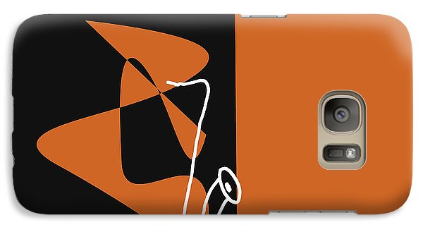 Galaxy Case featuring the digital art Saxophone In Orange by Jazz DaBri