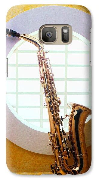 Saxophone Galaxy S7 Case - Saxophone In Round Window by Garry Gay