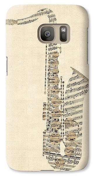 Saxophone Galaxy S7 Case - Saxophone Old Sheet Music by Michael Tompsett