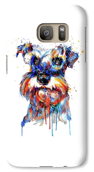 Galaxy Case featuring the mixed media Schnauzer Head by Marian Voicu