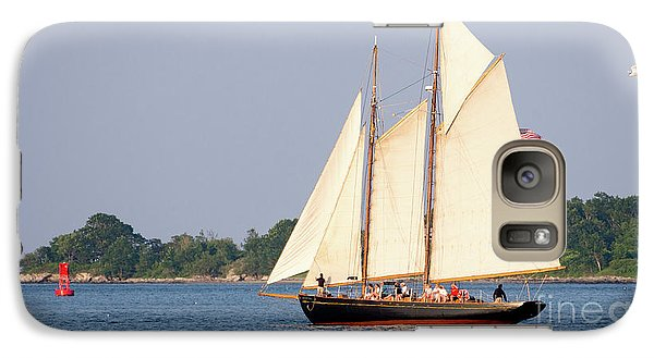Galaxy Case featuring the photograph Schooner Cruise, Casco Bay, South Portland, Maine  -86696 by John Bald