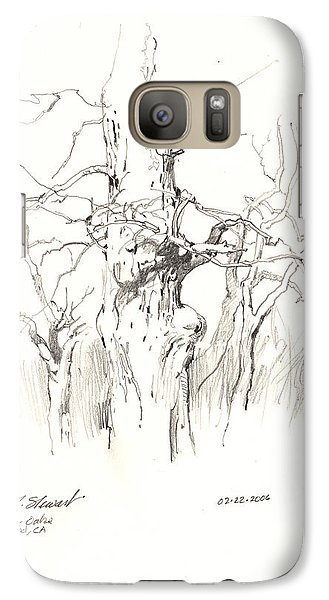 Galaxy Case featuring the drawing Scrub Oaks In Cottonwood by John Norman Stewart
